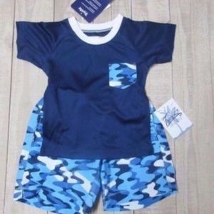New Trunks Boys 2 pc swim set Blue\White Colors